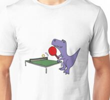 Cool Funky Purple T-Rex Dinosaur Playing Table Tennis Unisex T-Shirt