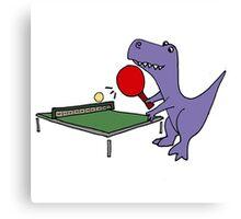 Cool Funky Purple T-Rex Dinosaur Playing Table Tennis Canvas Print