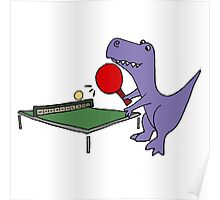 Cool Funky Purple T-Rex Dinosaur Playing Table Tennis Poster