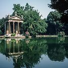Temple reflected in Pool Borghese Gardens Rome Italy 19840724 0007M  by Fred Mitchell