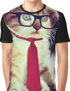 Cute Executive Cat Graphic T-Shirt