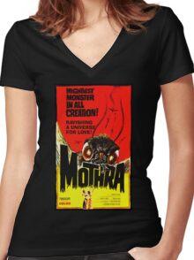 MOTHRA! Women's Fitted V-Neck T-Shirt
