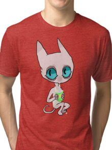 cute cat lady drinkin soda Tri-blend T-Shirt