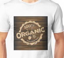Eco stamp label of healthy organic natural fresh farm food scorched on wood Unisex T-Shirt
