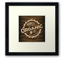 Eco stamp label of healthy organic natural fresh farm food scorched on wood Framed Print