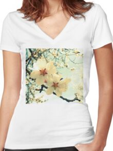 peer tree blossoms close-up Women's Fitted V-Neck T-Shirt