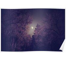 Purple Tree Moon Poster