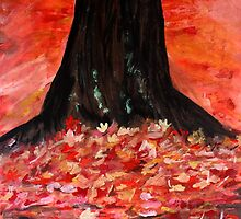 Autumn Fall Yellow Red Fallen Leaves Contemporary Acrylic Painting by JamesPeart