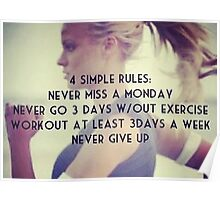 4 Simple Rules (Women's Fitness Motivation) Poster