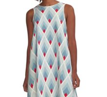 Art deco blue grey A-Line Dress