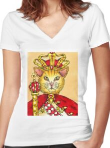King Cat Women's Fitted V-Neck T-Shirt