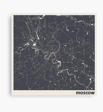 Minimal Maps - Moscow - Dark Canvas Print