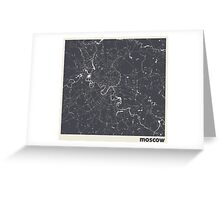Minimal Maps - Moscow - Dark Greeting Card