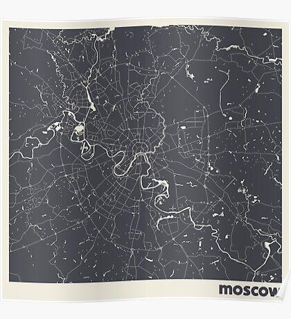 Minimal Maps - Moscow - Dark Poster