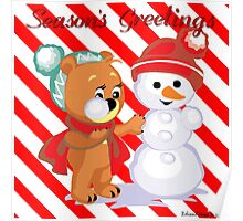 Cute Bear Building Snowman With Candy Cane Background Poster
