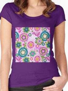 Boho,retro,70's,pattern,vintage,floral Women's Fitted Scoop T-Shirt