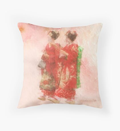 Geisha girls at springtime Throw Pillow