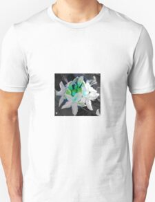 Delicate white flower with a turquoise centerpiece.  Unisex T-Shirt
