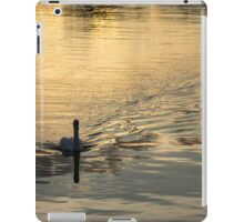 Golden Watercolor Ripples - the Gliding Swan iPad Case/Skin