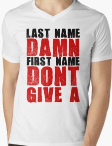 Last Name Damn Mens V-Neck T-Shirt
