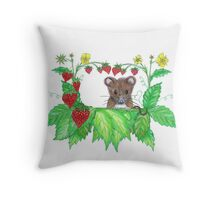 Strawberry mouse Throw Pillow