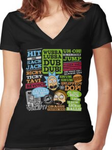 Wubba Lubba Dub Dub !! Women's Fitted V-Neck T-Shirt