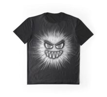 Black And White Evil 3D Fuzz Ball Graphic T-Shirt