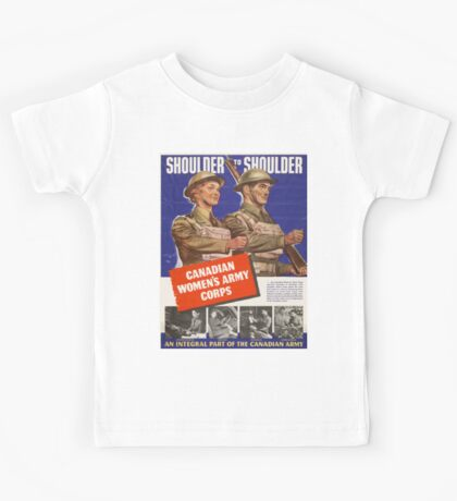 Vintage poster - Canadian Women's Army Corps Kids Tee
