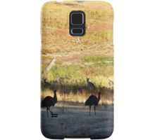 Australian emus and kangaroos at sunrise Samsung Galaxy Case/Skin