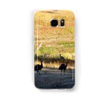 Australian emus and kangaroos at sunrise Samsung Galaxy Case/Skin