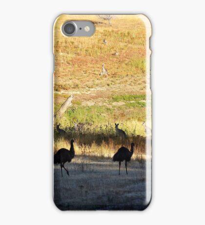 Australian emus and kangaroos at sunrise iPhone Case/Skin
