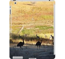 Australian emus and kangaroos at sunrise iPad Case/Skin