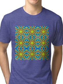 Mandala With Yellow Red And Blue - Tiled Tri-blend T-Shirt
