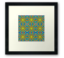 Mandala With Yellow Red And Blue - Tiled Framed Print