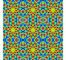 Mandala With Yellow Red And Blue - Tiled Photographic Print