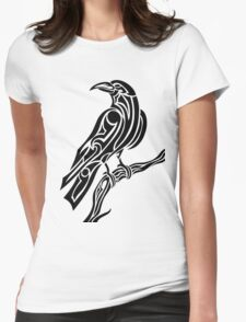 Tribal Crow Womens Fitted T-Shirt