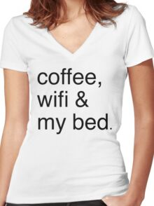 COFFEE, WIFI, & MY BED Women's Fitted V-Neck T-Shirt