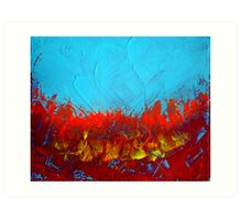 Bold turquoise and red abstract painting SCORCHED by Holly Anderson Artist Art Print