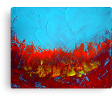 Bold turquoise and red abstract painting SCORCHED by Holly Anderson Artist Canvas Print