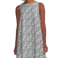 Battlescar - Grey/White A-Line Dress