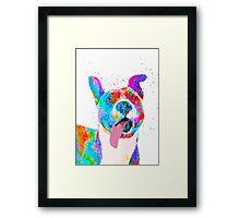 Pit Bull Terrier Pop Art Pet Portrait Framed Print