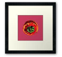Red flower in glass globe Framed Print