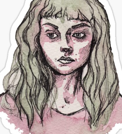Green and Pink Watercolor Portrait  Sticker
