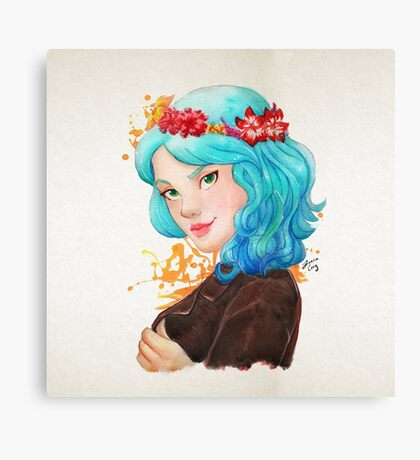 Girl with blue hair and flowers  Canvas Print