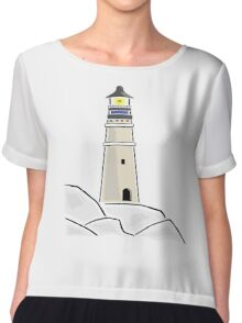 Vintage Light house Design Chiffon Top