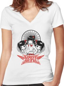 Baby Metal Cartoon Women's Fitted V-Neck T-Shirt