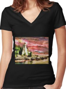 Water painting light house and birds Women's Fitted V-Neck T-Shirt