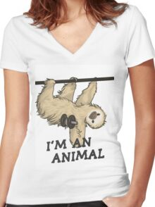 I'm an animal Women's Fitted V-Neck T-Shirt