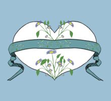Blue Floral Heart Design by Kat Worth Baby Tee