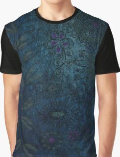 Vintage blue and mauve fabric Graphic T-Shirt